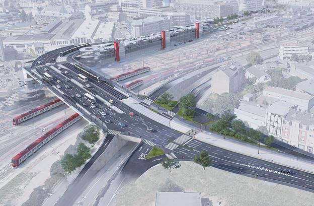 Après le pont Buchler, le tram devrait desservir deux nouveaux arrêts d'ici septembre 2022. (Photo: Administration des ponts et chaussées)