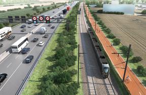 Les tramways pourront potentiellement atteindre les 100km/h le long de l'autoroute A4. ((Photo: Bureau Schroeder & Associés))