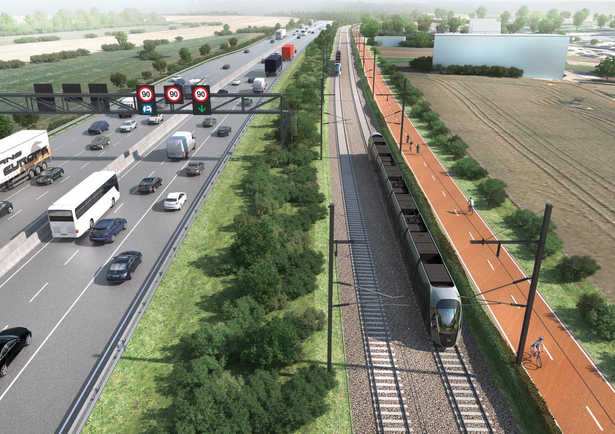 Le futur tram roulera sur un tracé de 17,5 km. (Photo: Bureau Schroeder & Associés)