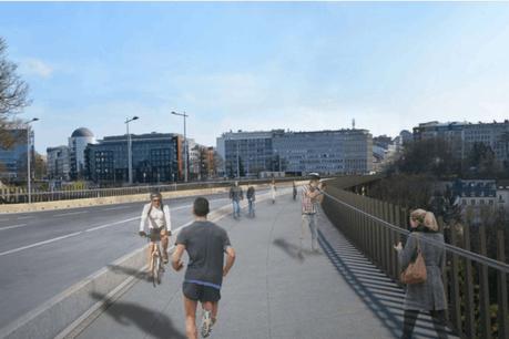 Les travaux sur le pont Al Bréck, qui mène de l'avenue de la Gare au plateau du St-Esprit, se termineront en 2020. (Illustration: Christian Bauer & Associés Architectes)