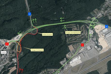 Les travaux se dérouleront sur l'autoroute A1 en direction de Trèves. (Visuel: Ministère de la Mobilité et des Travaux publics)
