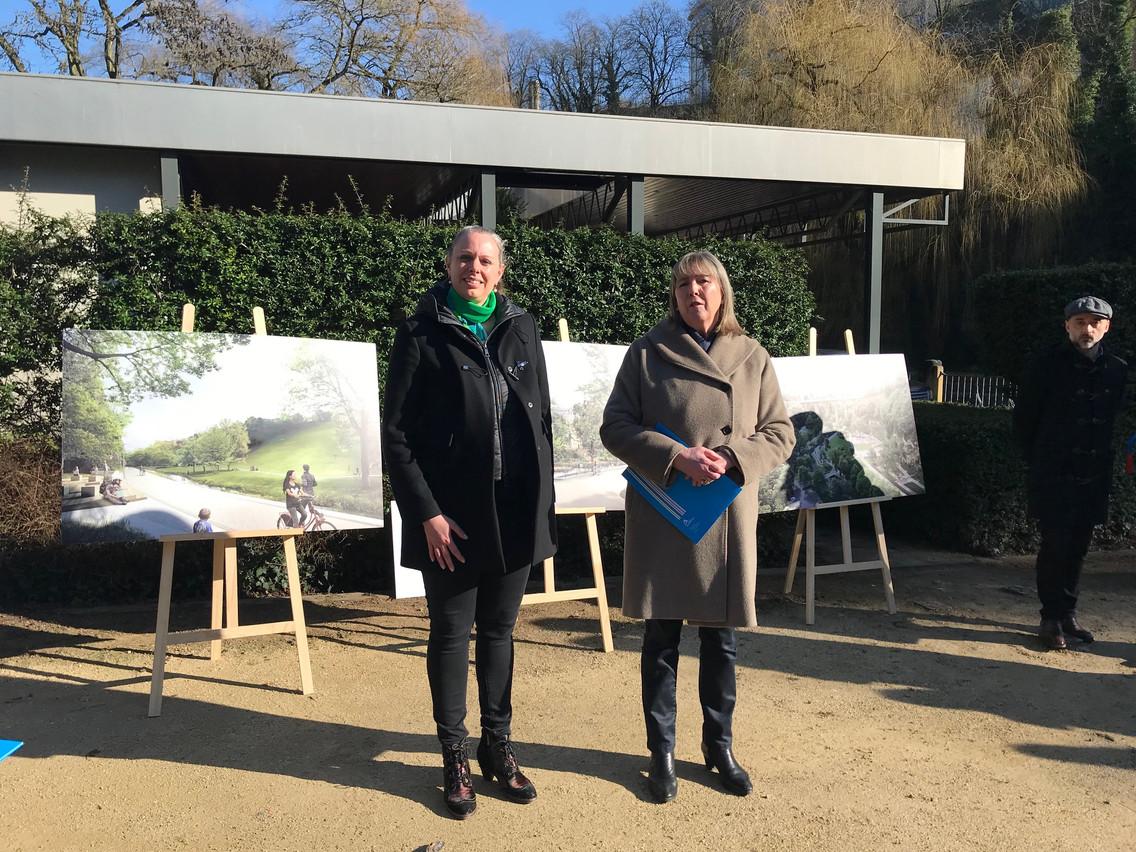 Carole Dieschbourg et Lydie Polfer ont présenté les travaux qui vont être menés à la Pétrusse. (Photo: Paperjam)