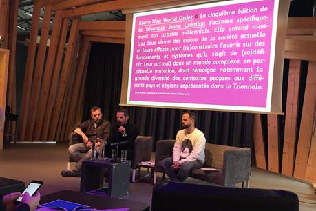 Steph Meyers, Kevin Muhlen et Marc Scozzaï ont présenté la nouvelle Triennale Jeune Création. (Photo: Paperjam)