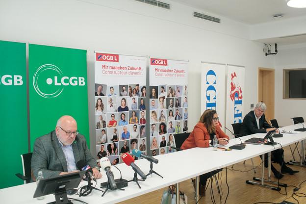 Pour relancer le dialogue social au Luxembourg afin d'éviter une crise sociale, «il faut les trois acteurs (le patronat, les salariés et le gouvernement), réunis au sein d'une tripartite», assure NoraBack, lors d'une conférence de presse commune de l'OGBL, du LCGB et de la CGFP. (Photo: Matic Zorman/Maison Moderne)