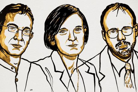 Abhijit Banerjee,  Esther Duflo et  Michael Kremer. (Illustration: Niklas Elmehed/Twitter/The Nobel Prize)