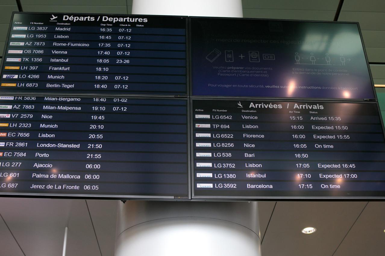 Bucarest, Bologne et Cracovie s'ajouteront bientôt au panneau d'affichage de l'aéroport du Findel. Ce sont les nouvelles destinations desservies par la compagnie Luxair. (Photo: Matic Zorman / Maison Moderne)
