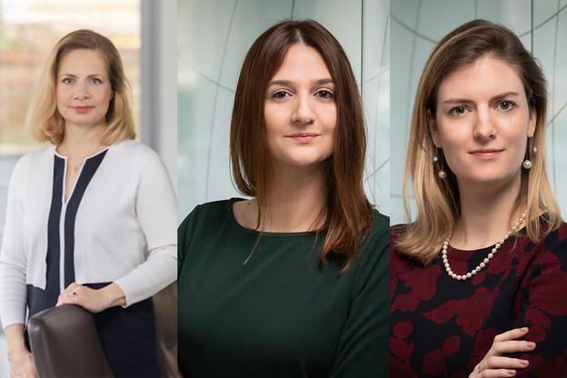 Sara Gerling, Meliha Dacic et Carmen Schellekens ont bénéficié d'une promotion en ce début avril. (Photo: NautaDutilh/Montage Maison Moderne)