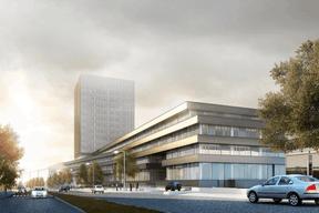 Le nouvel ensemble de la BEI sera composé d'un bâtiment bas et d'une tour. ((Illustration: BEI))