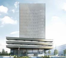 Une tour de 16 étages surplombera la nouvelle construction. ((Illustration: BEI))