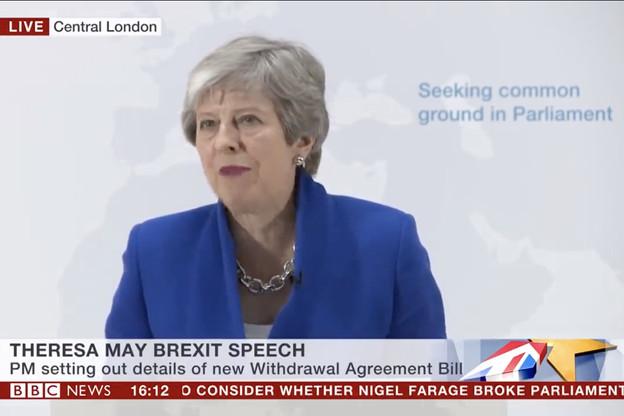 Theresa May, mardi soir, à Londres. (Photo: Capture d'écran/BBC)