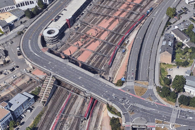 L'ouvrage, qui subit d'importants travaux, doit accueillir le tram. (Photo: Google Earth)