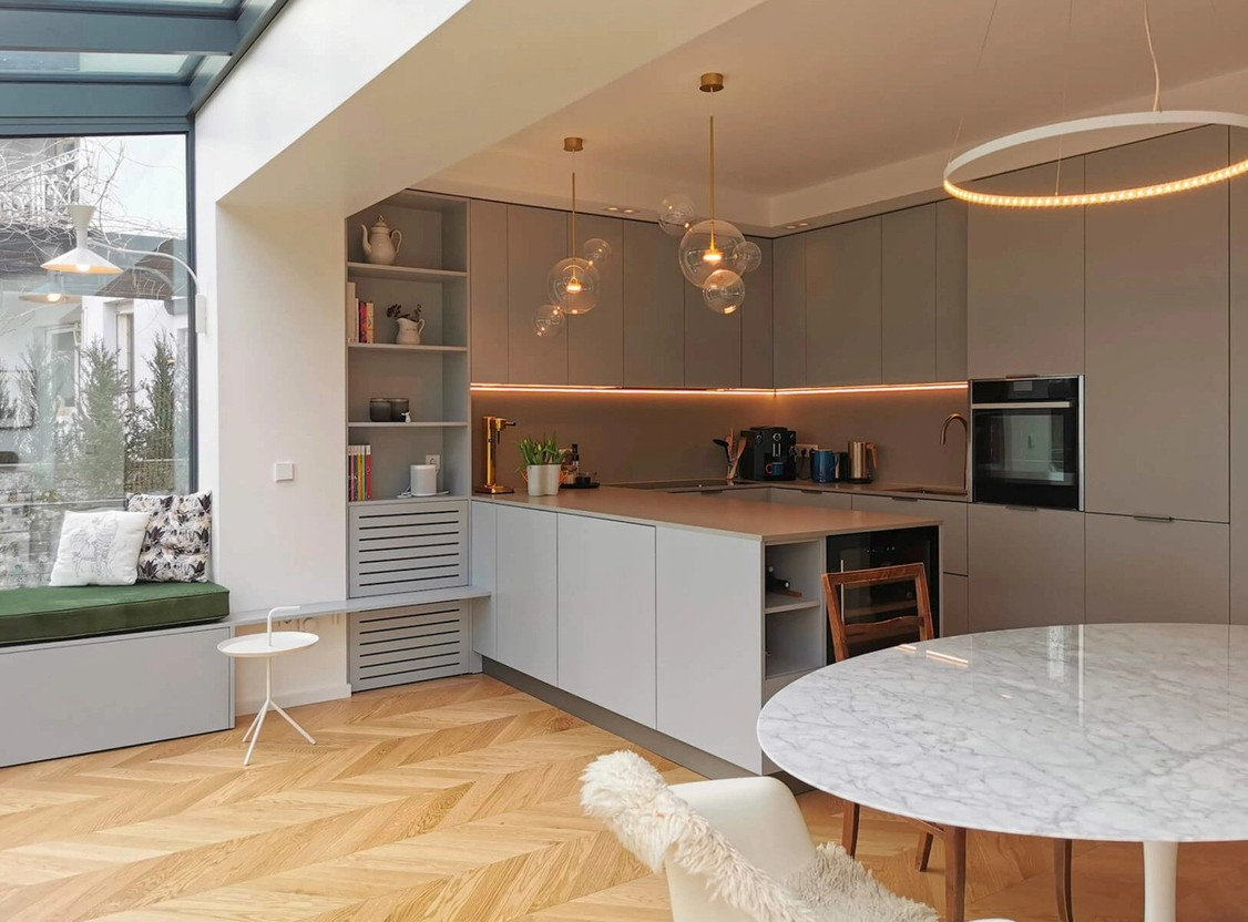 Following an extension and refurbishment, the kitchen and dining area in this Gasperich home had much more light. Photo provided by Ideas Factory