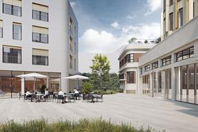Une esplanade donnant sur la rue de Hollerich permet d'accéder aux bâtiments. ((Illustrations: IKO Real Estate-Thomas & Piron))