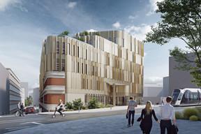 L'arrière du bâtiment historique donnera sur une nouvelle voie desservie par le tram. ((Illustrations: IKO Real Estate-Thomas & Piron))
