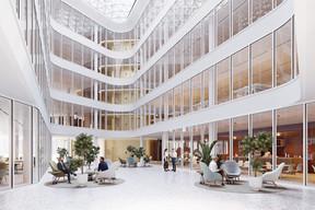 À l'intérieur de l'immeuble, un vaste atrium sera couvert par une verrière. ((Illustrations: IKO Real Estate-Thomas & Piron))