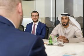Étienne Schneider, vice-Premier ministre, ministre de l'Économie, ministre de la Santé, Adil El Yacoubi, chief strategy officer de la Dubai Future Foundation, et Khalfan Belhoul, CEO de la Dubai Future Foundation. ((Photo: © SIP / Jean-Christophe Verhaegen, tous droits réservés))