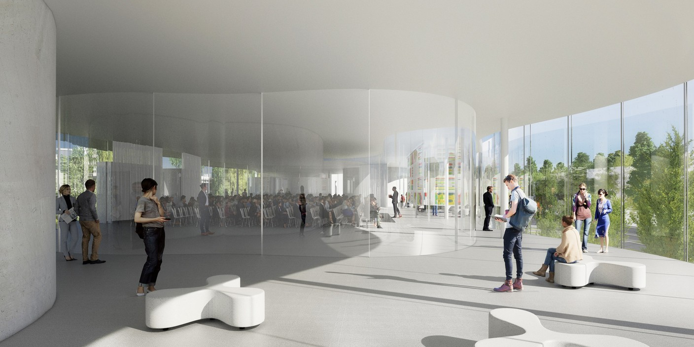 The building will feature a conference room for up to 450 people as well as smaller auditorium and classrooms Photo: Sanaa / Fabeck Architectes