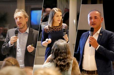 Jany Gofflot, LaureBertrand (Ludilingua) et StéphaneBarzellino (Shime) ont présenté et défendu les atouts de leur entreprise face au jury du quatrième concours Upgrade. (Photo: Concours Upgrade)