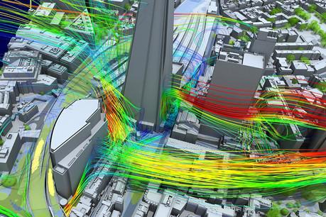 Sur cette simulation de Simscale, plus la couleur quitte le vert, plus les vents sont inconfortables pour les piétons. Les calculs sur le HPC permettront aux ingénieurs et architectes d'ajuster le design urbain. (Photo d'illustration: Simscale)