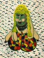 Mike Bourscheid, «The shameful discovery of sausage hair», 2018, bâton d'huile et imprimé pomme de terre sur papier, 127x105 cm, prix de départ: 6.200 euros.  ((Photo: Mike Bourscheid))