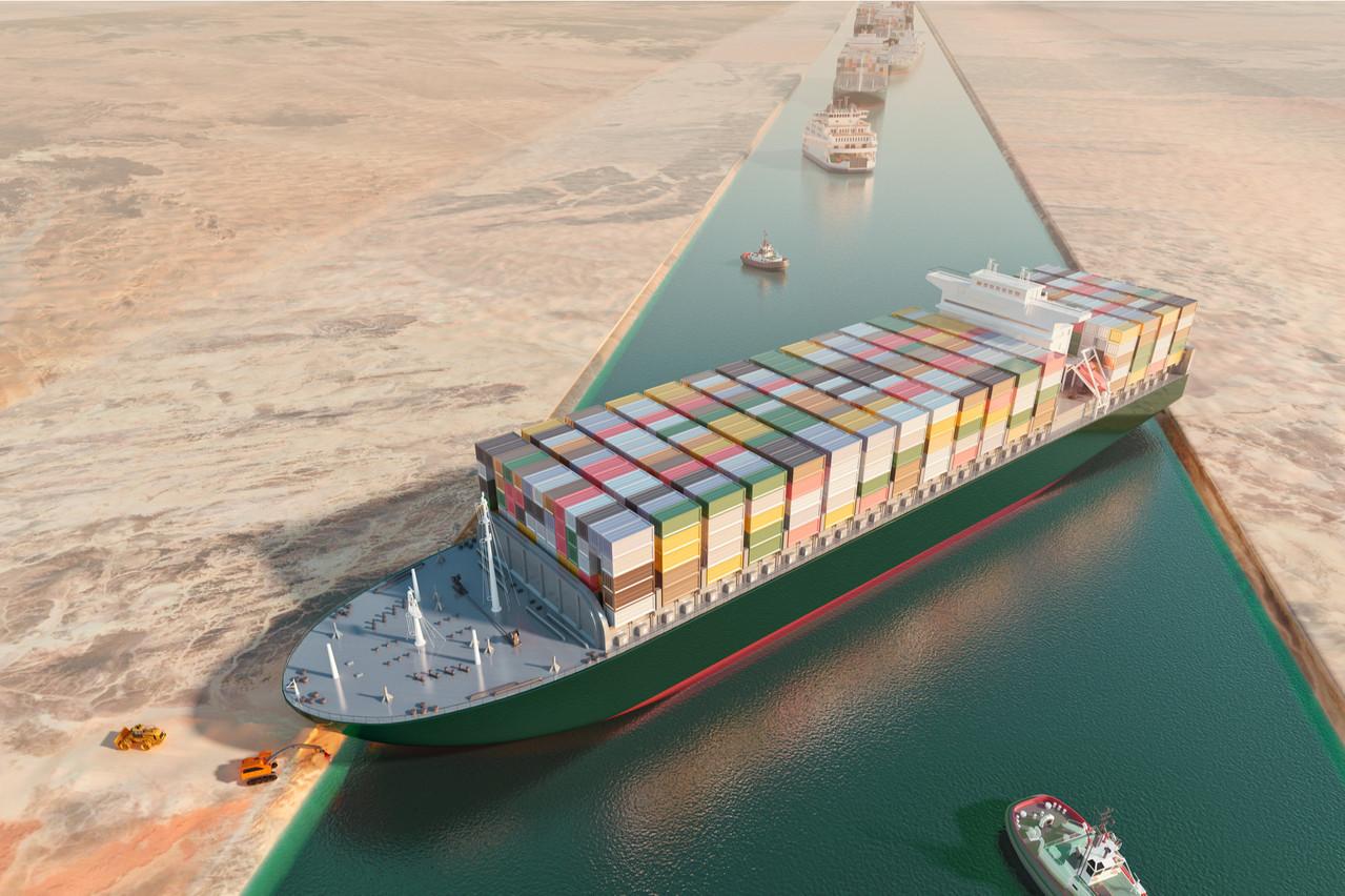 Le canal de Suez est bloqué par le porte-conteneurs Ever Given depuis près d'une semaine. (Photo: Illustration 3D / Shutterstock)