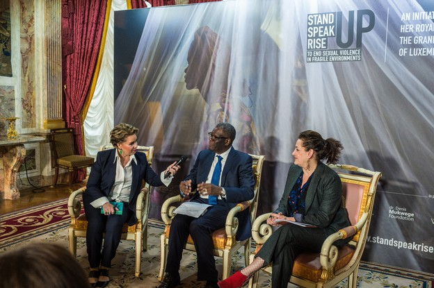 Le Forum «Stand Speak Rise Up!» est le fruit de la rencontre de la Grande-Duchesse avec le prix Nobel de la paix, le Dr Denis Mukwege, qui s'occupe de victimes dans son Hôpital de Panzi (Congo), et de la juriste Céline Bardet, fondatrice de l'ONG We Are NOT Weapons of War. (Photo: Mike Zenari/archives)