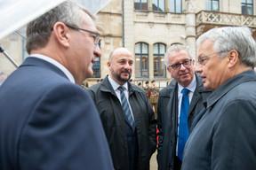 Pierre-Yves Jeholet (ministre-président de la Fédération Wallonie-Bruxelles), Étienne Schneider (vice-Premier ministre), Pierre Gramegna (ministre des Finances) et Didier Reynders (vice-Premier ministre de Belgique) ((Photo: Anthony Dehez))
