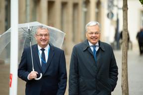 Pierre-Yves Jeholet (ministre-président de la Fédération Wallonie-Bruxelles) et Didier Reynders (vice-Premier ministre de Belgique) ((Photo: Anthony Dehez))