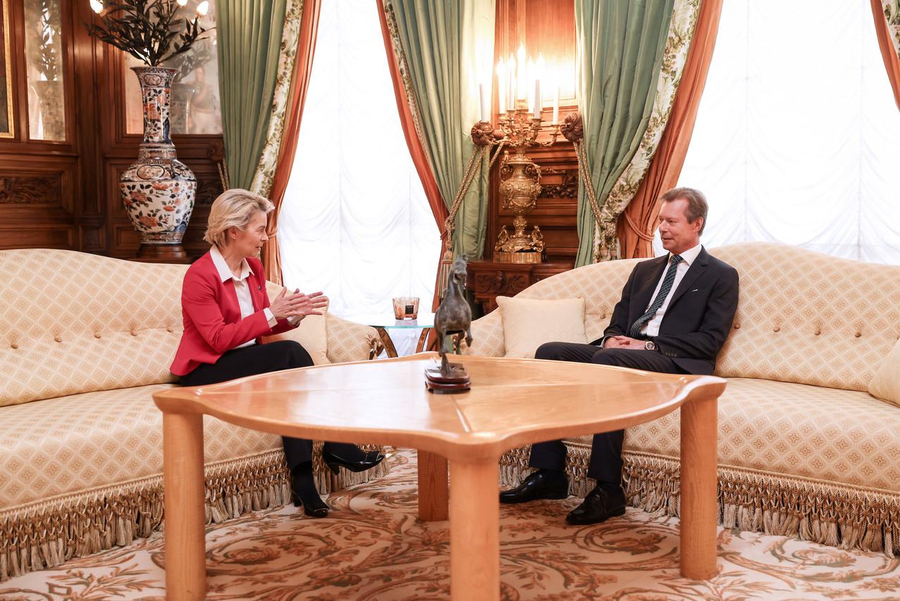 La présidente de la Commission a été reçue tout d'abord en audience au palais grand-ducal. (Photo: Maison du Grand-Duc/SophieMargue)