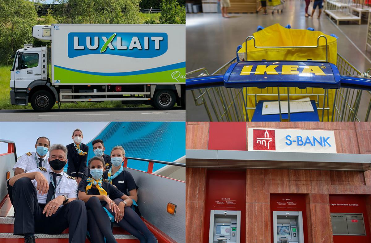 Luxlait, Ikea, LuxairTours et la Spuerkeess se distinguent dans le classement Top Brands 2020. (Photomontage: Maison Moderne. Photos: Maison Moderne, Shutterstock, LuxairTours)
