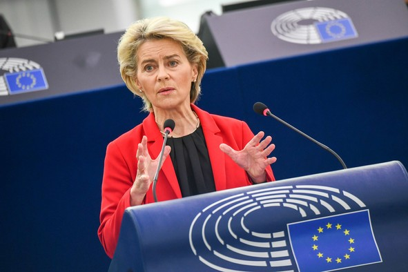 """Ursulavon der Leyen addressing the European Parliament's plenary debate on the rule of law crisis in Poland on Tuesday said it was """"a direct challenge to the unity of the European legal order."""" European Union 2021"""