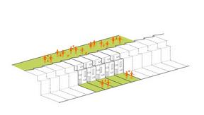 À l'avant, les espaces sont privatifs, alors qu'ils sont communs à l'arrière. ((Illustration: Fonds du logement - Team 31))