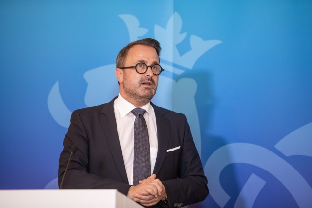 Xavier Bettel, seen at a 2 June press conference, is undergoing tests and observation in hospital for 24 hours Romain Gamba