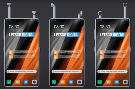 Xiaomi, 4 e  constructeur mondial de smartphones, vient de déposer différents brevets pour un téléphoned'accueillir directement en son sein des écouteurs sans fils pliables. (Visuel:Xiaomi)