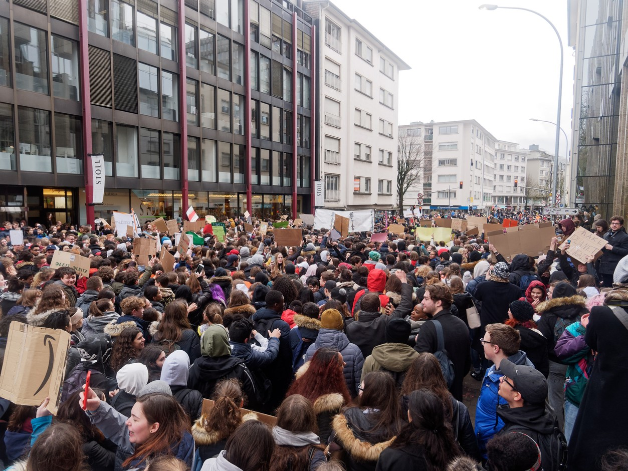 Adults are also welcome to join the student movement's climate strike. Photo: Marks Polakovs